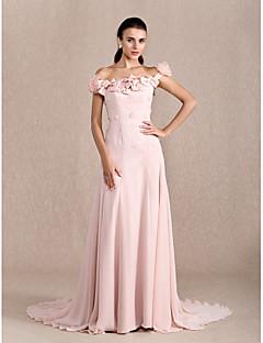 저녁 정장파티 드레스 - 펄 핑크 A라인/프린세스 쿼트 트레인 오프 더 숄더 쉬폰 플러스 사이즈