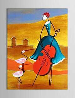 pintado a mano las personas pintura al óleo chica tocando la guitarra con el marco de estirado