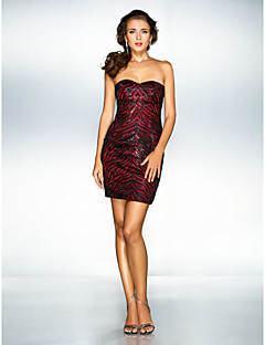 Homecoming Cocktail Party/Holiday/Prom Dress - Black Plus Sizes A-line/Princess Sweetheart Short/Mini Stretch Satin/Sequined