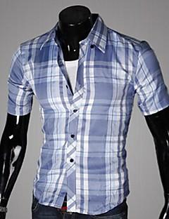 feilicos Männer Revers Hals Einfachheit Check figurbetonten Kurzarm-Shirt