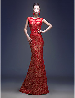 Formal Evening Dress Trumpet/Mermaid Jewel Floor-length Lace