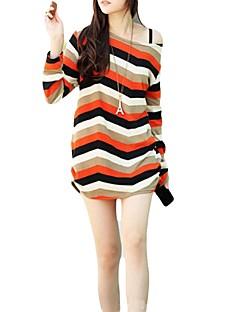 Mulheres Blusa Casual Simples Primavera / Outono,Listrado Verde / Laranja Decote Cigano Manga Longa