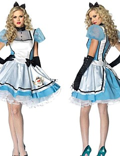 Lovely Alice Lantern Sleeves Blue Chiffon & Terylene Maid Uniforms