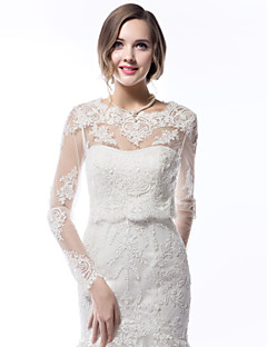 Wedding  Wraps Coats/Jackets Long Sleeve Lace Ivory Wedding Scoop Lace Sleeves Appliques Lace-up No