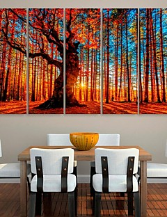 sträckt arbetsytan konst rött trä dekorationsmåleri uppsättning av 5