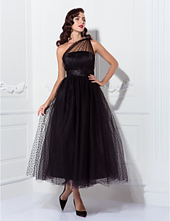 A-Line Princess One Shoulder Ankle Length Tulle Prom Wedding Party Dress with Draping by TS Couture®