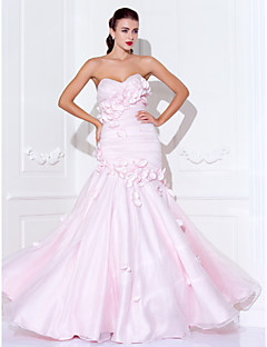 Prom/Military Ball/Formal Evening Dress - Blushing Pink Plus Sizes Trumpet/Mermaid Sweetheart/Spaghetti Straps Floor-length Satin/Organza