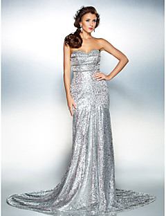 TS Couture Formal Evening Dress - Silver Plus Sizes / Petite Trumpet/Mermaid Strapless / Sweetheart Court Train Sequined