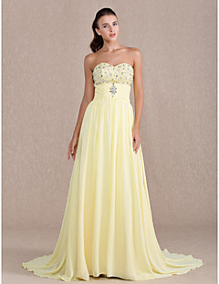 Formal Evening/Prom/Military Ball Dress - Daffodil Plus Sizes Sheath/Column Sweetheart Sweep/Brush Train Chiffon