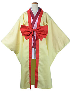 Inspirado por No Juego No Vida Izuna Hatsuse animado Disfraces Cosplay Trajes Cosplay / Kimono Retazos Rojo / Amarillo Manga LargaCapa /