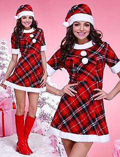 גודל אחד התחפושת של האישה מבוגרת חג המולד משובצת