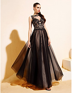 TS Couture® Formal Evening Dress - Black A-line/Princess Bateau Floor-length Tulle