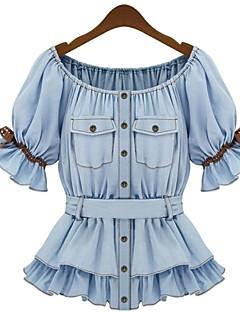 Mulheres Blusa Happy-Hour Fofo Primavera / Verão,Sólido Azul Algodão Ombro a Ombro Manga Curta Média