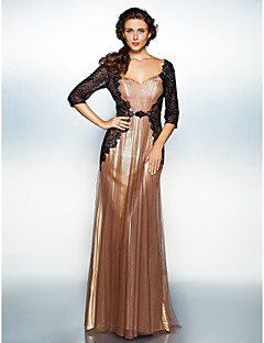 Dress Sheath/Column V-neck Floor-length Tulle