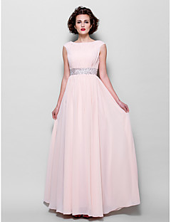Lanting A-line Plus Sizes / Petite Mother of the Bride Dress - Pearl Pink Floor-length Short Sleeve Chiffon