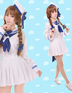 Inspired by Wadanohara Cosplay Anime Cosplay Costumes Cosplay Suits Solid White Long Sleeve Top / Skirt / Hat / Sleeves