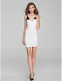 Vestito - Bianco Cocktail Tubino V Mini A maglia