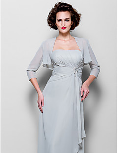Women's Wrap Shrugs 3/4-Length Sleeve Chiffon Silver Wedding Party/Evening Wide collar 39cm Draped Open Front