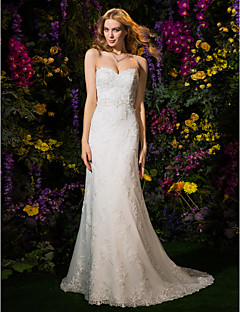 Lanting Bride® A-line / Princess Petite Wedding Dress Wedding Dresses in Color Court Train Sweetheart Lace / Tulle