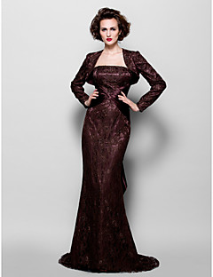 Trumpet/Mermaid Plus Sizes / Petite Mother of the Bride Dress - Chocolate Sweep/Brush Train Long Sleeve Lace / Stretch Satin