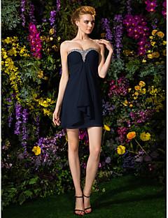 Lanting Bride® Krátký / Mini Šifón Šaty pro družičky - Pouzdrové Srdce Větší velikosti / Malé s Korálky / Sklady