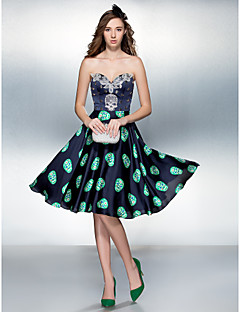 Cocktail Party/Prom Dress - Multi-color Plus Sizes A-line Sweetheart Knee-length Stretch Satin