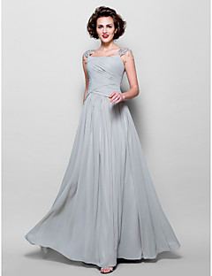A-line Plus Size / Petite Mother of the Bride Dress Floor-length Sleeveless Chiffon / Lace withAppliques / Beading / Crystal Detailing /