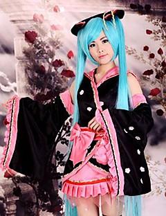 Inspirado por Vocaloid Hatsune Miku Anime Fantasias de Cosplay Ternos de Cosplay / Chimono Patchwork Preto Manga CompridaCapa de Kimono /