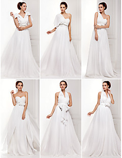 Lanting Bride Convertible Dress Sweep/Brush Train Chiffon A-line/Princess Wedding Dress (1539446)