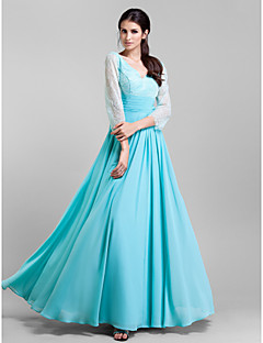 Formal Evening/Prom/Military Ball Dress Plus Sizes Sheath/Column V-neck Floor-length Chiffon/Lace