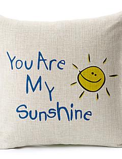 texte et motif de soleil coton / lin taie d'oreiller décoratif