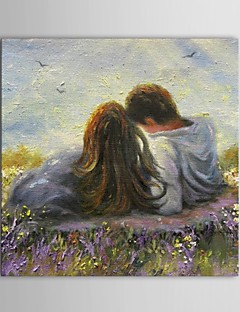 Hand Painted Oil Painting People Romantic Couple in the Field with Stretched Frame