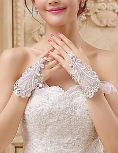 Luva Luvas de Noiva Até o Pulso Sem Dedos Renda/Tule