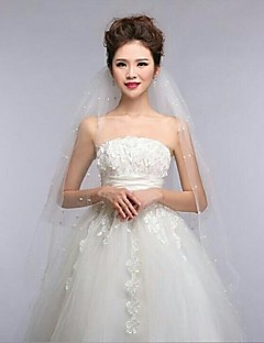 4Tire Fingertip Wedding Veils with Pearls Edge with Ribbon Bow ASV4