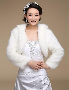 Wedding  Wraps / Fur Wraps Coats/Jackets Long Sleeve Faux Fur Ivory Wedding / Party/Evening Open Front