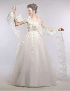 Gorgerous One Tire Chapel Bridal Veils with Vintage Lace Trim ASV22