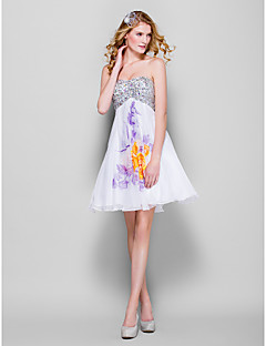 Dress - Print Plus Sizes / Petite A-line Sweetheart Short/Mini Chiffon / Sequined