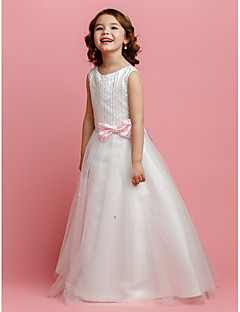 Lanting Bride A-line / Princess Floor-length Flower Girl Dress - Satin / Tulle Sleeveless Jewel with Beading / Bow(s)