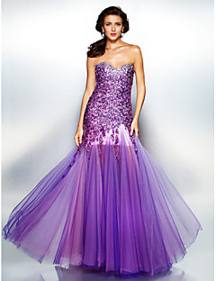 A-line Sweetheart Floor-length Sequined And Tulle Evening Dress