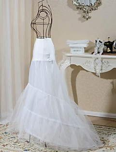 Slips Mermaid and Trumpet Gown Slip Floor-length 2 Tulle Netting Spandex White