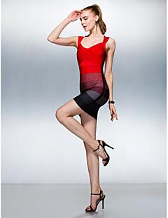 Kleid - Mehrfarbig Seide - Etui-Linie - mini - V-Ausschnitt