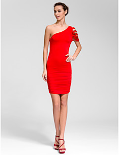 Cocktail Party Dress - Ruby Sheath/Column One Shoulder Short/Mini