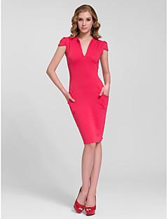 Cocktail Party Dress - Fuchsia/Ruby/Burgundy/White/Black Sheath/Column V-neck Knee-length Cotton