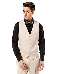 Off-White Solid Tailored Fit Vest In Polyester