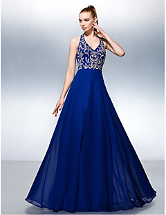 Dress A-line Halter Floor-length Chiffon