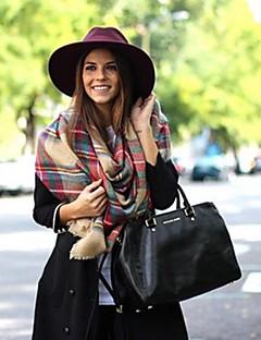 kvinners mote britisk stil kontrast farge rutenett mønster sjal