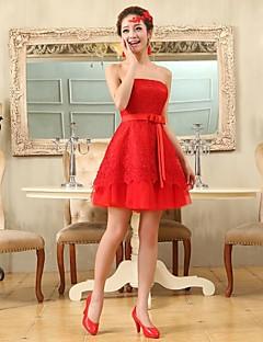 hjemkomst cocktail party kjole - rubin pluss størrelser a-linje / prinsesse stroppeløs kort / mini chiffon / blonder
