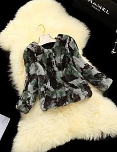 chaqueta abrigos de piel de las mujeres de piel verde camuflaje del ejército de pelo de conejo piel corta
