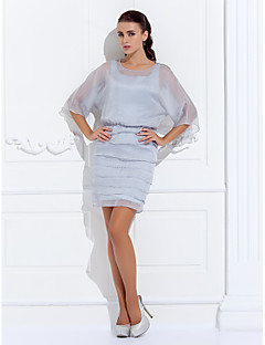 Lanting Bride Sheath / Column Plus Size / Petite Mother of the Bride Dress - Wrap Included Short / Mini 3/4 Length Sleeve Chiffon with