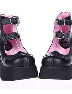 Black  PU Leather  8CM  Platform Punk Lolita Shoes
